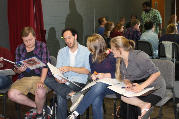 """Theater students rehearsing lines from upcoming play, """"The Drowsy Chaperone."""" (Photo by Selina Pohl)"""