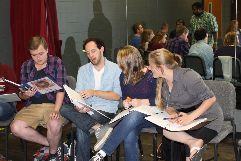 "Theater students rehearsing lines from upcoming play, ""The Drowsy Chaperone."" (Photo by Selina Pohl)"