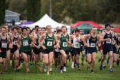 LEADING THE PACK: The Foresters surge ahead of their competitors in the E. DeWitt Baker Invitational, which they hosted during Homecoming weekend Oct. 3. (Photo provided by HU Athletics)