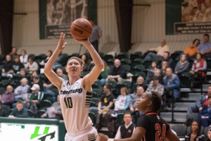 OPEN SHOT: Jaclene Bonnema shoots over a Grace opponent during the Foresters' Feb. 2 home game. (photo provided by HU Athletics)