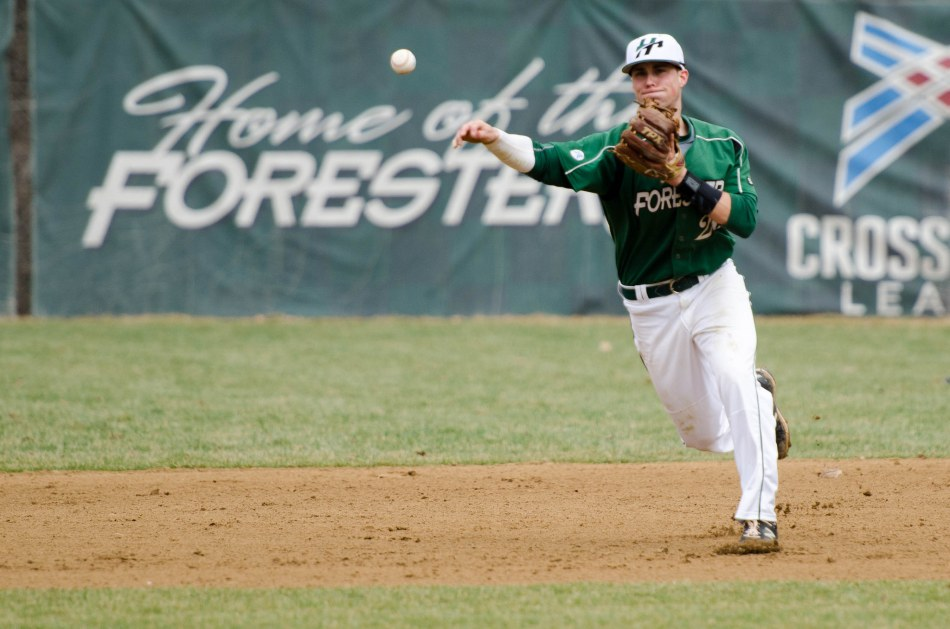 GROUNDER: Jamar Weaver, a sophomore second baseman, fields a ball in the Foresters' home game Mar. 12. (Photo provided by HU Athletics)