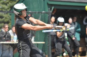 SLUGGER: Sophomore Audra Klophenstein registers a hit for the Foresters. (photo provided by HU Athletics)