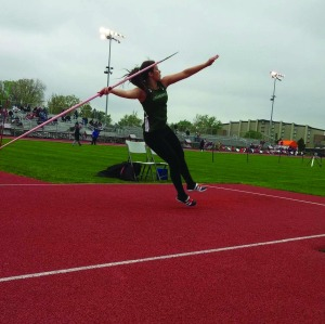 JAVELIN: Junior Jean Donaldson competes at the Crossroads League Championships, where she earned all-league honorsfor her third-place finish. (photo by Riley Braun)