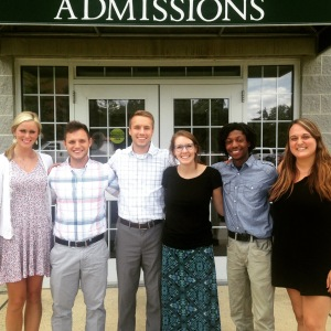 SMILES: Kelsey Kruse (left), Jacob Johnson, Nicholas Harmsen, Susanne Watson, Christian Washington and Katie Martin comprise the admissions team. (Photo contributed)