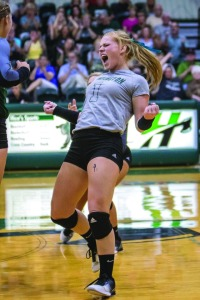 CELEBRATION: Libero Kate Cobb reacts to a Forester kill in her team's home win against Saint Francis Oct. 21. (photo by Quinton Worthy)